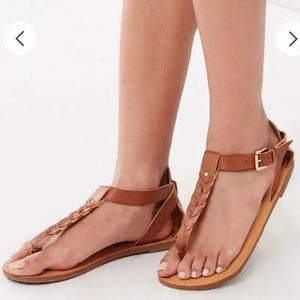 forever 21 brown leather ankle strap sandals